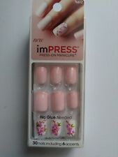 Kiss imPRESS Press-On Manicure One Step Gel Nails LUCKY Pink Flowers