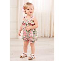 Mud Pie E8 Petite Petals Baby Girl Faille Floral Bubble Romper 1132384 Choose...