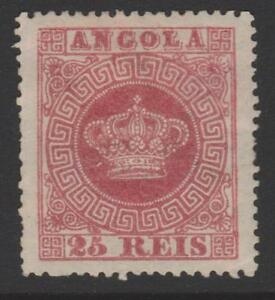 [ Angola, Portugal 1870 - 25r. Crown, perf. 14 ] MH   RRR   w/ certificate