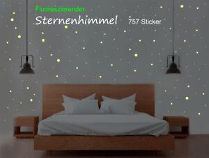 Wandtattoo Sternenhimmel XXL 757 Sterne Aufkleber Sticker fluoreszierend