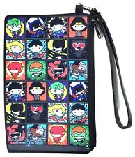 DC COMICS CHIBI BATMAN SUPERMAN WONDER WOMAN CANVAS ZIP WALLET ZIPPER WRISTLET