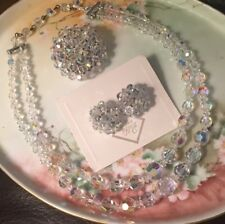 Vintage Pageant Aurora Borealis Crystal Necklace Brooch Clip Earrings Set Mint