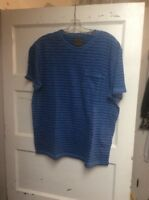 $39.50 Lucky Brand men's indigo striped crew t shirt  size large  K
