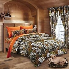 7 Pc Queen Snow Mixed Size and Color Set Camo White Comforter With Orange Sheets