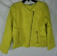 Charlotte Russe Women's Wool-Blend Yellow Moto Zip Blazer Large New with Tags