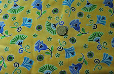 100% Cotton Fabric - Blue and Green Whimsical Flowers on Yellow  - By The Yard