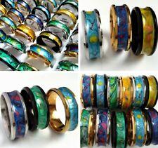Bulk lots 50pcs Unisex Unique Design Hand Painted Enamel Stainless Steel Rings