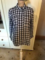 NEXT PETITE Ladies Black White Check Roll Tab Long Sleeve Shirt Blouse Size 12