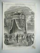 GRAVURE 1852. PROCLAMATION DE L'EMPIRE. RECEPTION DANS SALLE DU TRONE, TUILERIES