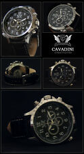 LUXURY CHRONOGRAPH Cavadini Watch Tachymeter Rotatable Ring Arabic Numbers NEW