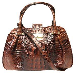 Brahmin Laura Satchel PECAN Melbourne Croc Embossed Leather Shoulder Bag NWT