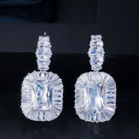 Princess Cut Cubic Zirconia Crystal 925 Silver Dangle Drop Earrings for Brides