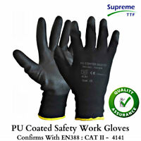 240 Pairs Nylon PU Coated Grip Safety Work Gloves Gardening Builders Mechanic