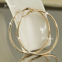 18K GF 18CT YELLOW GOLD FILLED HOOP EARRINGS 35MM 50MM 60MM 70MM 80MM HOOPS