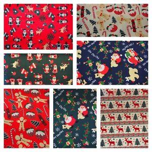 Christmas Polycotton Fabric 44ins Fat Quarter/Half Metre / Metre Bundle
