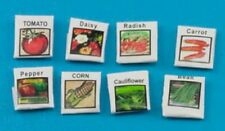 Dollhouse Miniature Set of 8 Flower and Vegetable Seeds