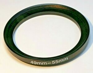 49mm to 55mm Step-up ring Metal adapter double threaded for lens filter