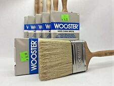 "6x Wooster Professional White China Bristle Brushes, 3"" Flat Sash Z1118 Platinum"