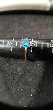 1.0 ct Round Cut Blue CZ Wedding SS14Kt Ring 14k Gold SZ 7.5 - 2 Gram