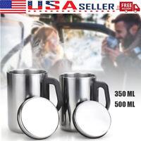 350/500ML Coffee Tea Mug Stainless Steel Insulated Cup Outdoor Travel Water Mug