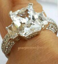 4 carat 14k white Gold Emerald Cut man made diamond Engagement Ring S 5 6 7 8