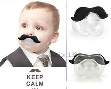 BABY CHILD BLACK MOUSTACHE DUMMY SOOTHER PACIFIER FUNNY JOKE MATERNITY NEWBORN