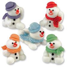 Sugar Snowmen 3D - Edible Sugar Christmas Cupcake Toppers / Cake Decoration