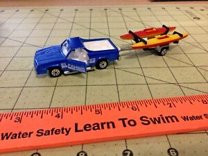 vintage Majorette 1/64 blue El Camino and kayaks with trailer, FREE Shipping!