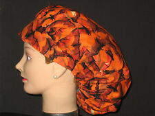 Surgical Scrub Hats/Caps Halloween  Orange Flying Bats