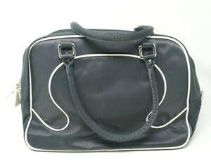 Lululemon Gym Bowler Duffle Tote Laptop Bag Logo Piping Dark Blue Canvas White