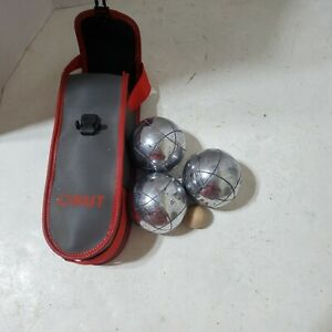 Vintage OBUT Stainless Steel Petanque Boules Set of 3 Balls Case Complete