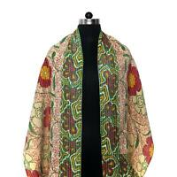 Vintage Kantha Scarf Cotton Sari Stole Women Shawl Hand Stitch Embroidered Wrap