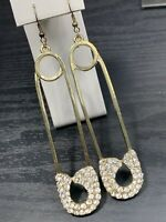 """Women's  crystal Large Sparkling Hip Hop Safety Pin Pierced Earring Gold 4.5"""""""