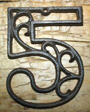 Rustic BROWN Cast Iron Metal House Number Street Address 4 1/2 INCH Phone # 5