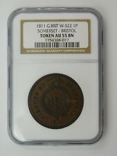 1811 Great Britain W-522 1 Penny Somerset-Bristol Token NGC AU 55 BN
