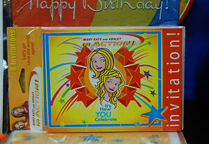 Mary Kate Ashley in Action Party Set # 8 Hats Plates Napkins Tablecover Loot bag