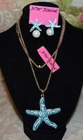 3 PC BETSEY JOHNSON STUNNING TURQUOISE CRYSTAL NECKLACE EARRINGS & GOLD BRACELET