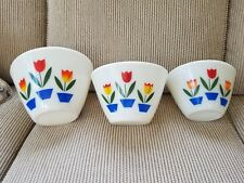 VINTAGE FIRE KING TULIP 3 PC NESTING BOWLS SPILL PROOF OVEN WARE