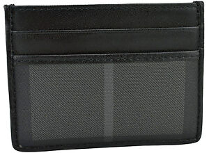 $300 BURBERRY Gray Canvas Check Black Leather Credit Card Case NEW COLLECTION