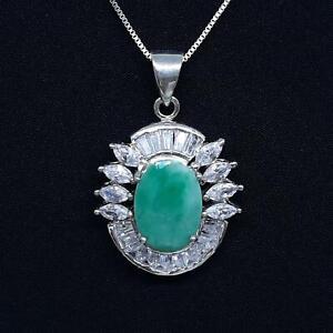 World Class 9.20ctw Colombian Emerald & Diamond Cut White Sapphire 925 Pendant