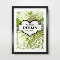DUBLIN CITY VINTAGE IRELAND IRISH GREEN MAP ART PRINT Poster Decor Wall A4A3A2