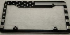 AMERICAN FLAG, Hmc Billet Black Anodized Aluminum License Plate Frame, BSNP TOP