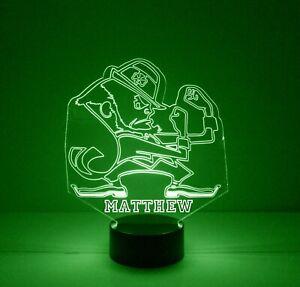 Notre Dame Fightin Irish LED Night Light Lamp, Personalized FREE, Sports Light