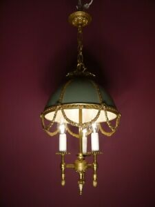 BRASS FRENCH EMPIRE CHANDELIER CEILING LAMP GREEN OLD PARACHUTE 3 LIGHT