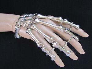 Women Silver 5 Fingers Metal Hand Chain Skeleton Skull Bones Slave Bracelet Ring