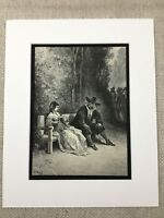The Maiden Girl Woodland Scene La Fontaine Fables Story Genuine Antique Print