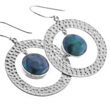 "1 1/8"" BLUE PEACOCK BIWA FRESHWATER PEARL HOOPS 925 STERLING SILVER earrings"