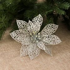 10X Christmas Large 15cm Poinsettia Glitter Flower Tree Hanging Party Decoration