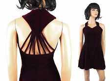 80s 90s Mini Dress Sz S Vintage Burgundy Red Velvet Prom Cocktail Gown Open Back