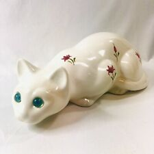 White Crouched Siamese Cat Floral Ceramic Figurine Statue with Blue Glass Eyes